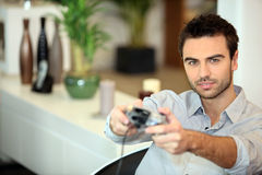 Man playing a video game Royalty Free Stock Image
