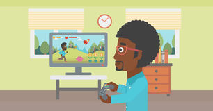 Man playing video game. Stock Images