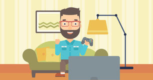 Man playing video game. Royalty Free Stock Photo