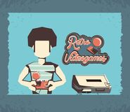 Man playing video game retro. Vector illustration design Stock Photo