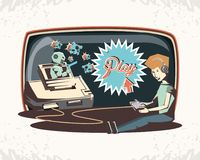 Man playing video game retro. Vector illustration design Stock Photography