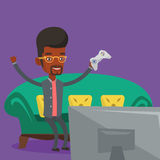 Man playing video game vector illustration. Stock Image