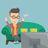 Man playing video game vector illustration. Caucasian man playing video game. An excited young man with console in hands playing video game at home. Man Royalty Free Stock Photo