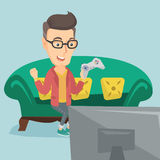 Man playing video game vector illustration. Royalty Free Stock Photos