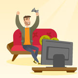 Man playing a video game vector illustration. Caucasian man playing a video game. Excited young man playing a video game at home with a console in hands. Man Royalty Free Stock Photo