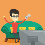 Man playing video game vector illustration. Royalty Free Stock Image