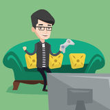 Man playing video game vector illustration. Happy caucasian gamer sitting on a sofa and playing video game on the television. An excited young man with console Royalty Free Stock Photo