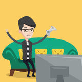 Man playing video game vector illustration. Stock Photography