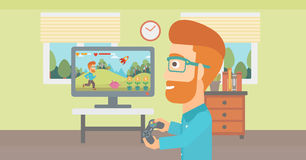 Man playing video game. Royalty Free Stock Photography