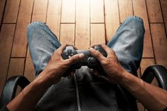 Man play video games in home Royalty Free Stock Images
