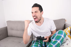 Man playing videogames. Royalty Free Stock Photos