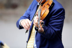 Man playing violin. On a gray background Royalty Free Stock Photography