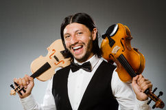 Man playing violin in musical concept Royalty Free Stock Photography