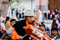 Man Playing the Violin on the Street Stock Photos