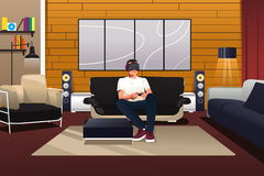 Man Playing with Virtual Reality headset Royalty Free Stock Photos