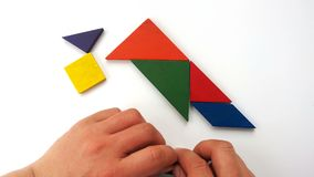 Man playing wooden tangram and shaping it like a bird stands up. On white stock video footage