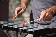 Man playing xylophone Royalty Free Stock Photos