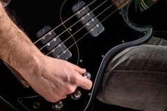 Man Playng Bass Guitar Stock Photos
