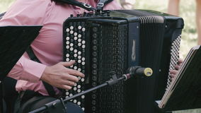 A man plays the accordion. stock video footage