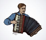 A man plays the accordion. Vector drawing. Adult fun talent smile guy skill bellow harmonic key chord on white. Bright color  drawn happy human folklore event royalty free illustration