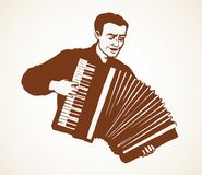 A man plays the accordion. Vector drawing. Adult fun talent smile guy skill bellow harmonic key chord on white. Line black ink pen drawn happy human folklore stock illustration
