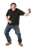 Man Plays An Air Guitar Stock Photography