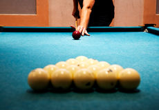 Man plays billiards. Stock Images