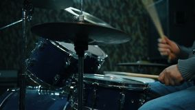 Man Plays On Drums. Slow Motion Effect stock footage