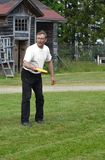 Man plays flying disc. Taivalkoski Stock Images
