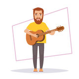 Man plays guitar. Isolated Stock Images