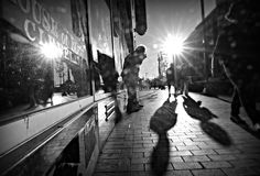 Man Plays Harmonica on Streets of Downtown Cleveland Stock Images