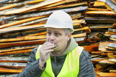 Man plays harmonica Stock Photography