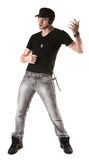 Man Plays His Air Guitar Stock Images