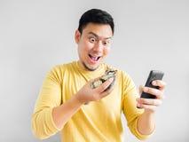 Man plays mobile game. royalty free stock image