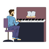 A man plays the piano. Vector illustration, isolated on white. Royalty Free Stock Images