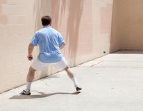 Man Plays Racquetball. Mid adult man playing racquetball on a public court Royalty Free Stock Images
