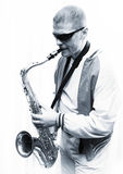 A man plays the saxophone Stock Photo