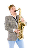 Man plays the saxophone with his eyes closed Royalty Free Stock Photography
