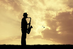 Man plays the saxophone. Illustration of man plays the saxophone Royalty Free Stock Photography