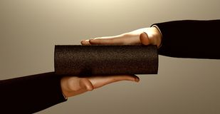 Taking an oath. Man pledging a statement of loyalty on a black book Stock Image