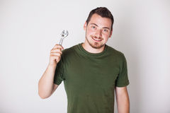 Man with pliers Royalty Free Stock Photo