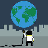 Man plugging earth. Stock Photography