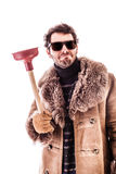 Man with plunger Stock Image