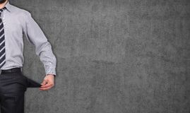 Man with pockets turned inside out Royalty Free Stock Photos