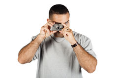 Man and Point and Shoot Camera Royalty Free Stock Images