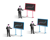 Man with pointer at blackboard Royalty Free Stock Photo