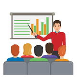 Man with pointer making report. Flat vector illustration of a man with a pointer next to the board with analytical data making a report for the audience at the vector illustration