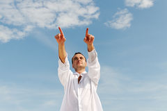 Man pointing. Buisnessman thinking about his plans and pointing forward Stock Photos