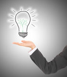 Man pointing at alternative green energy saving light bulb Royalty Free Stock Image