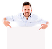 Man pointing a banner Royalty Free Stock Photo